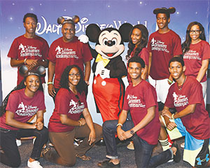Students from around the state were selected to participate in the Disney Dreamers Academy. Front Row:  Roneisha Alexander, Regina Carson, Alec Estrill and Lionell Wright. Back row: Jelani Alexander, Keno Tate, Danyscia Jarvis, D'Andre Ragin and Shanese Campbell.
