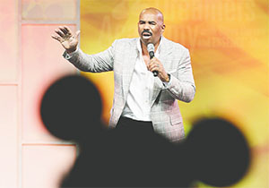 Steve Harvey, nationally syndicated radio and talk show host has been encouraging