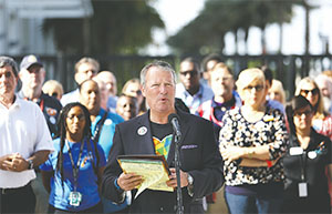 Orlando mayor Buddy Dyer delivers remarks during a press conference at Camping World Stadium on June 17 in Orlando. The mayor was joined by various charity and community agency workers and executives to update the public on assistance being offered to those affected by the Pulse massacre.(JOE BURBANK/ORLANDO SENTINEL/TNS)