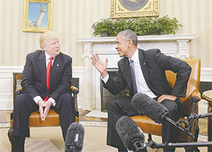 President Barack Obama meets with President-elect Donald Trump on Nov. 10in the Oval Office of the White House in Washington, D.C. in their first public step toward a transition of power. (OLIVIER DOULIERY/ABACA PRESS/TNS)