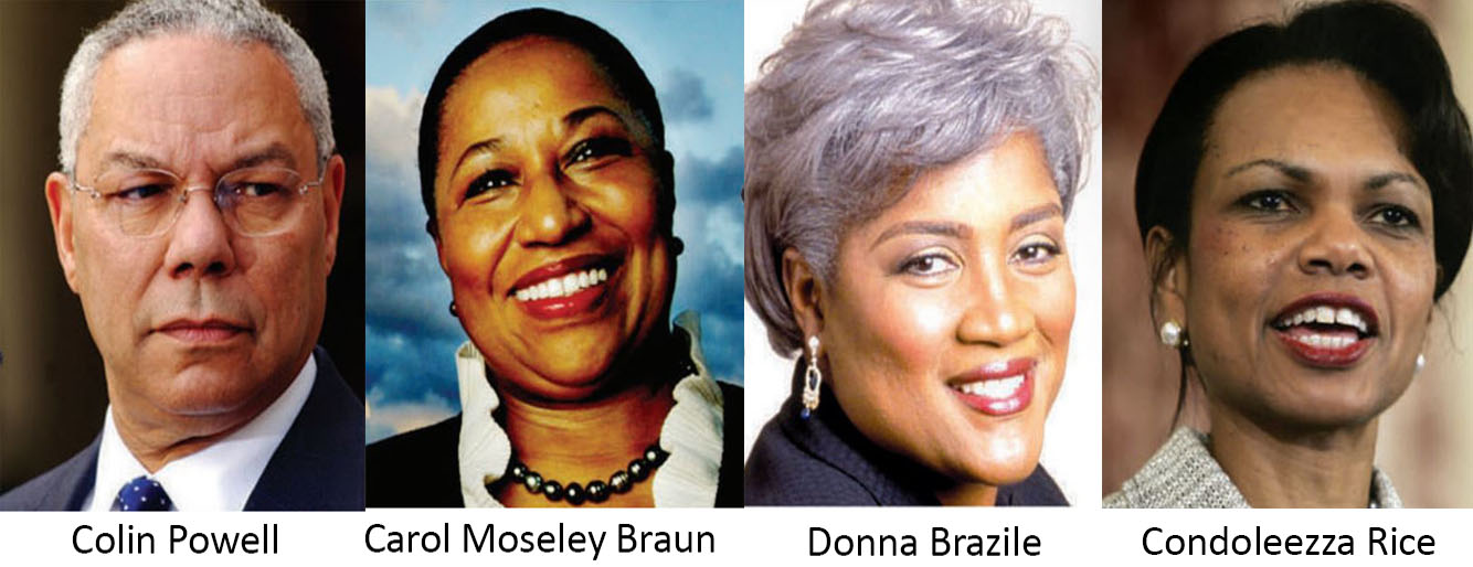 Carol Moseley Braun, Donna Brazile, Condoleezza Rice, Colin Powell