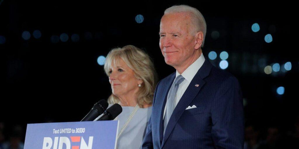 Joe and Jill Biden on election night.