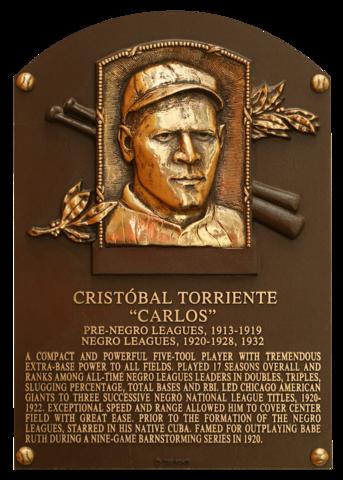 Cristobal Torriente's Hall of Fame plaque