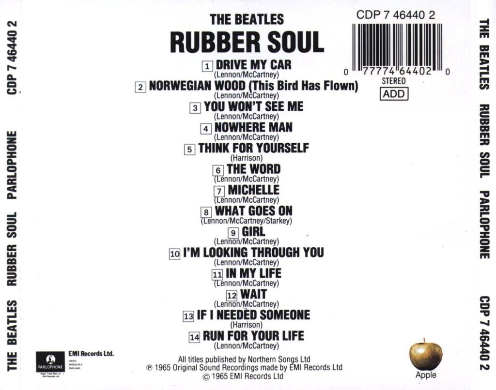 Back album cover to Rubber Soul