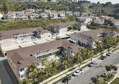 Aerial View of the Front of the Building and trees