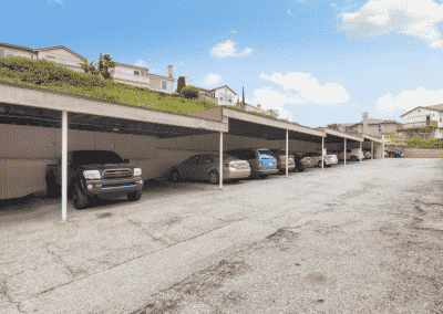 Parking lot with cars and covering
