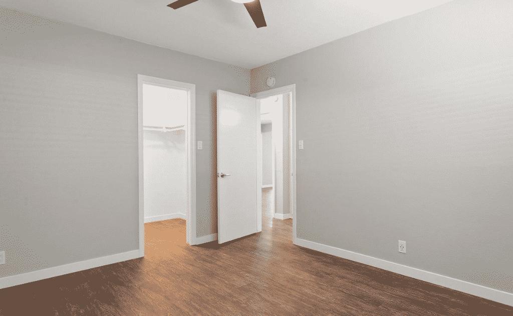 Open Door to Bedroom with ceiling fan