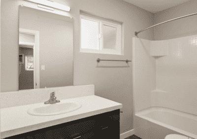 Bathroom showing the mirror, sink, bathtub