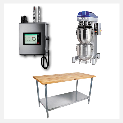STM 60 Water Meter, Escher PM Professional Mixer, ABT Stainless Steel Work Table with Maple Top