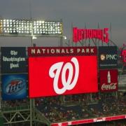 Nats Park Scoreboard dusk with W 2012 014