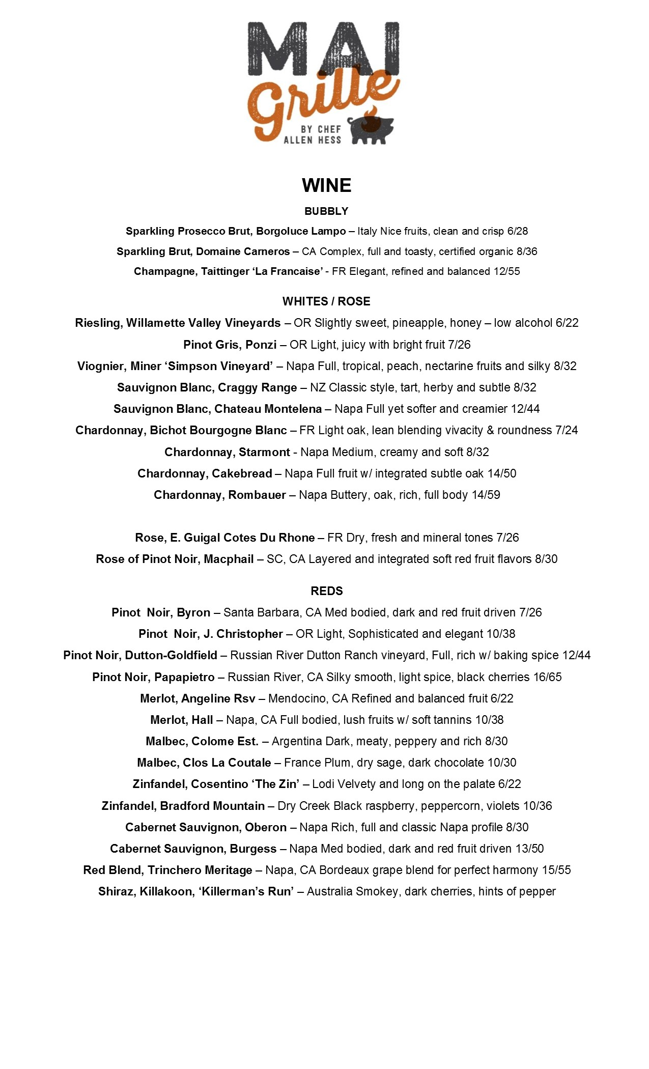 Wine List Mai Grille by Chef Allen Hess