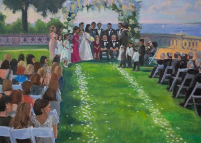 Outdoor Ceremony at Sands Point Preserve, Live Event Painting on Long Island