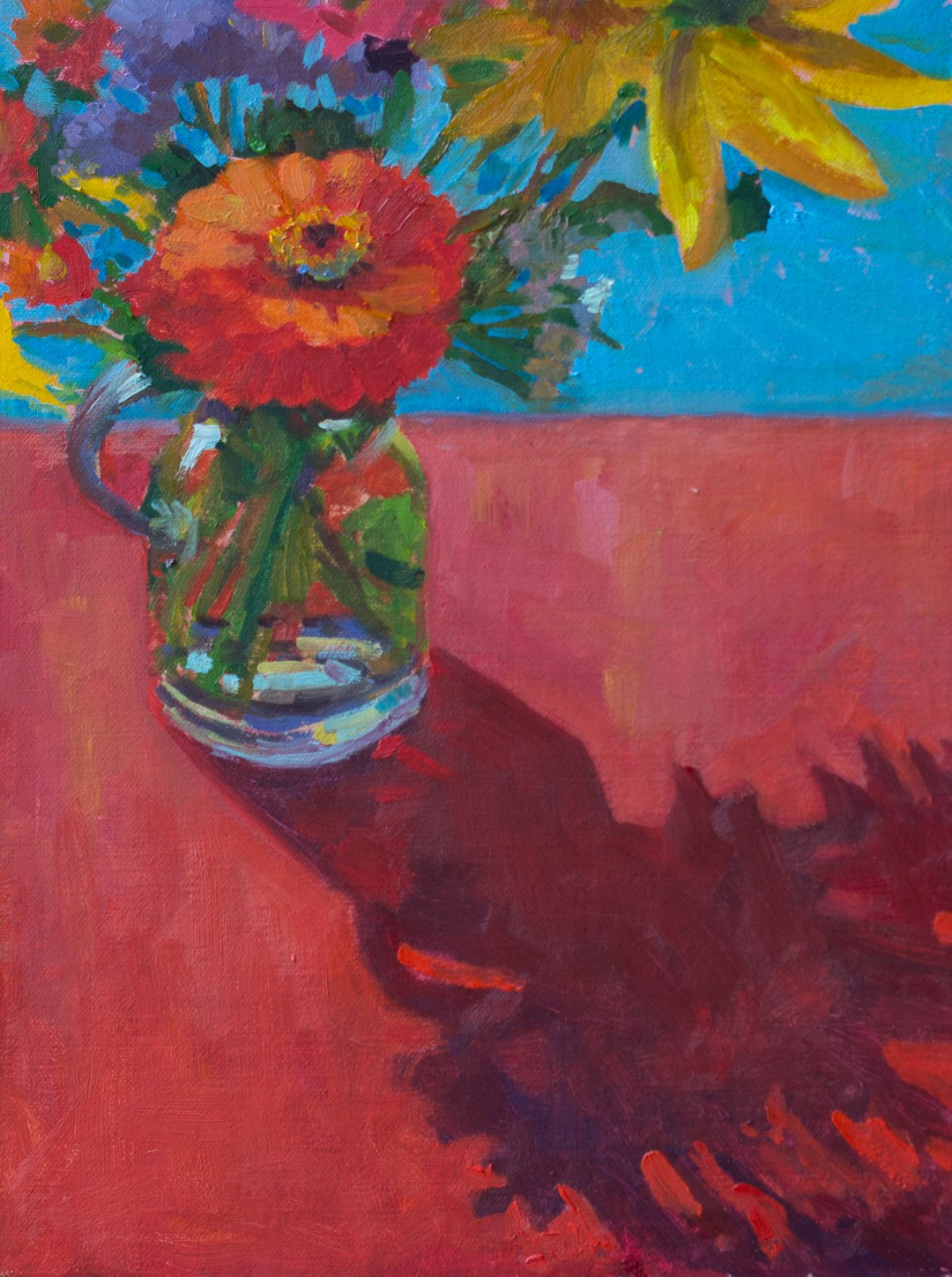 Flowers on Red with Pool