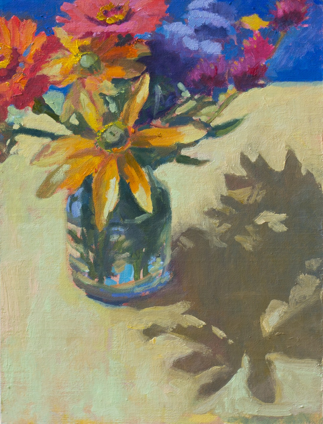 """Yellow Bouquet on Yellow, 9"""" x 12"""", oil on linen panel"""