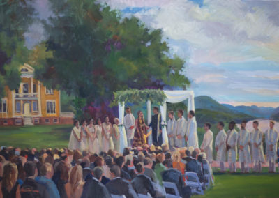 Live Event Painting Indian Ceremony at Boscobel with view of the Hudson River, Garrison, NY