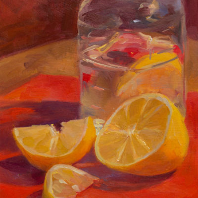 Lemon Water Jar on Red