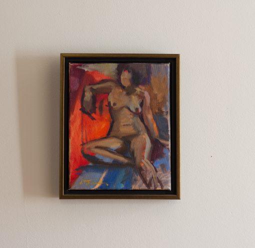 Tiff on Red Framed in gold and black floater frame
