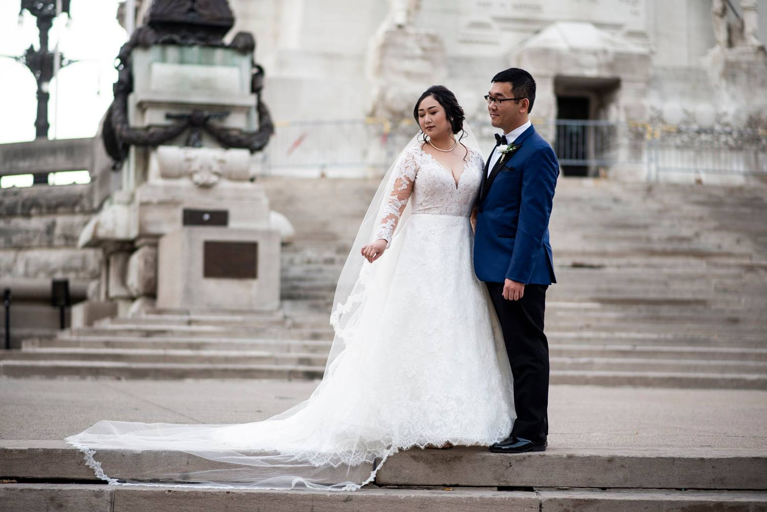 Indianapolis Couple on their wedding day at Indianapolis Soliders and Sailors Monument Downtown Indianapolis