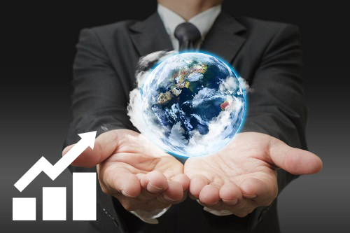 Businessman holding an iSSi holographic earth solution