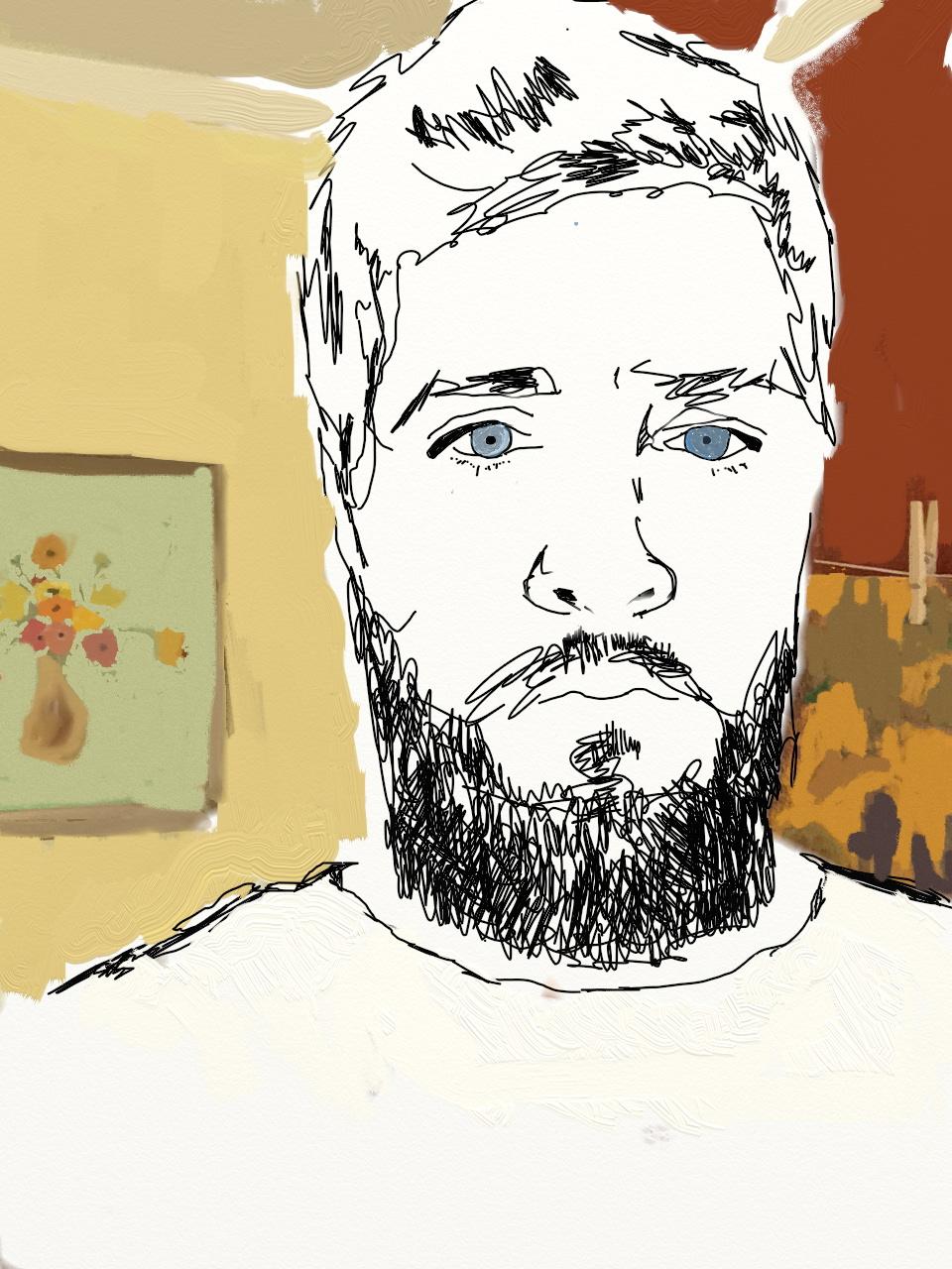 sketch self portrait jeffrey pillow