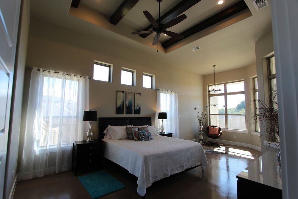 master bedroom with rafters