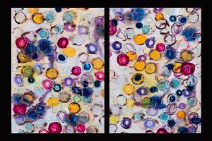 "Rebecca Lynn Parker silk, gutta, dye 50""x34""x1"" (each piece) $500.00"