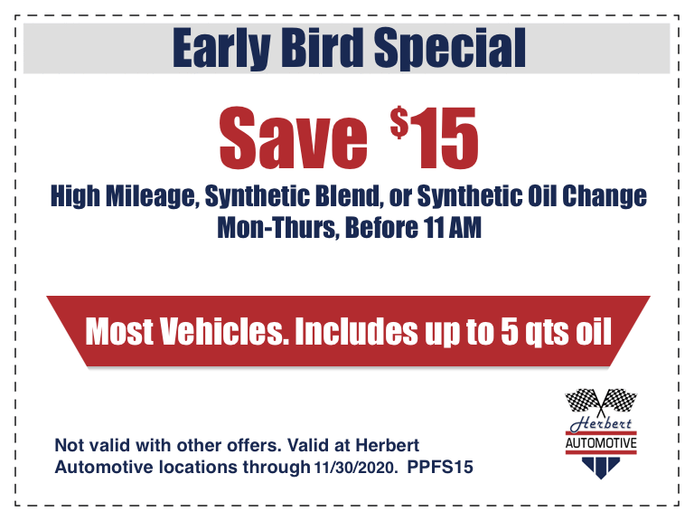 Early Bird Oil Change Coupon