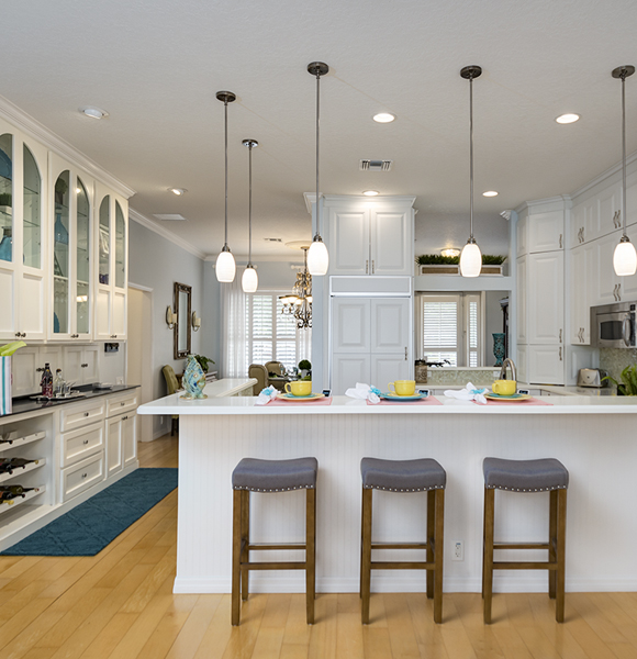Photo of a kitchen counter with bar stools in an apopka fl home