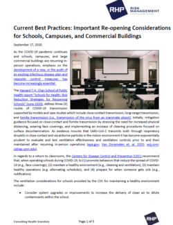 Cover_Current Best Practices - Important Re-opening Considerations for Schools, Campuses, and Commercial Buildings_9.17.20