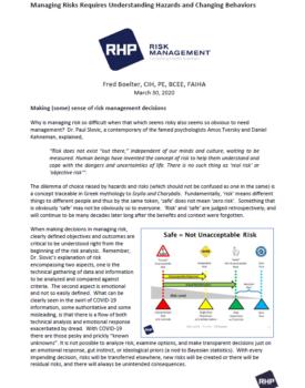 Cover_Managing Risks Requires Understanding Hazards and Changing Behaviors
