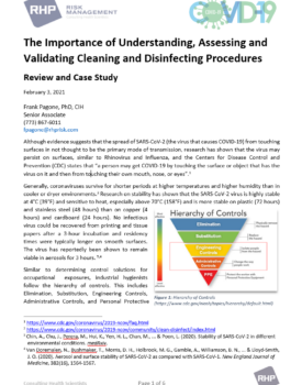 Cover_The Importance of Understanding, Assessing and Validating Cleaning and Disinfecting Procedures