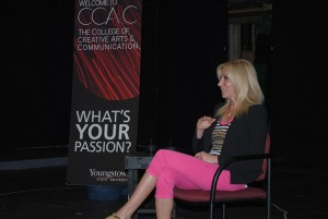 """Music star Debbie Gibson spoke to YSU students on Monday inside Bliss Hall. Gibson will perform in the musical """"Cirque Musica"""" on Sept. 25 and 26 at the Covelli Centre. Photo by Steve Wilaj/The Jambar."""