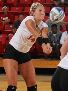 Youngstown State senior Missy Hundelt returns a serve during Saturday's volleyball matchup against Toledo at the Beeghly Center. Hundelt recorded her 1,000 kill during the game against the Rockets.  Photo by Dustin Livesay/The Jambar.
