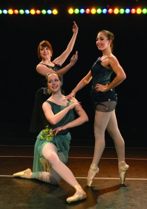 """Left to right: Lee Beitzel, Rebecca VanVoorhis and Olivia Bartie will perform a ballet dance titled """"Jardin de la Fleur"""" in the upcoming Dance Ensemble recital. Photo courtesy of Anna Ruscitti."""