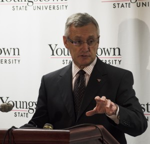 Jim Tressel has accepted the offer to become Youngstown State University's ninth president. His term will begin on July 1. Photo by Graig Graziosi/ The Jambar.