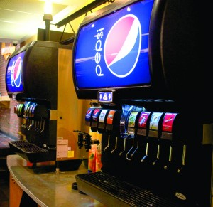 The food court fountain machines are among the first Pepsi stocked machines to arrive on campus.