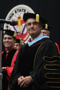 University president Jim Tressel was officially sworn in as Youngstown State University's ninth president at an installation ceremony in Beeghly Center on Monday. Photo by Dustin Livesay / The Jambar.