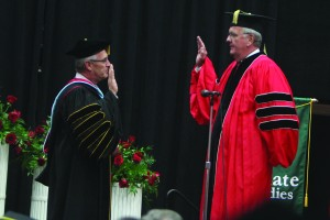 University president Jim Tressel was officially sworn in as Youngstown State University's ninth president at an installation ceremony held in Beeghly Center on Monday. Photo by Dustin Livesay/The Jambar.