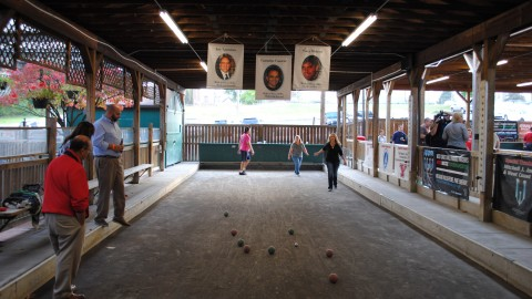 Teams of players competed against each other on Monday night for the annual Carmstrong Bocce For Hope event. All of the proceeds raided will be donated to children who are terminally ill or with chronic diseases. Photo by Gabrielle Fellows/ The Jambar.