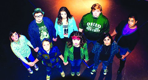 Kristopher North's students of YOUnify, a LGBTQ youth theater in Youngstown. Back row: Chiara, Jayden, Miranda, Joe, Braxton. Front row: Spencer, Keever, Kitty.  Photo Courtesy of Kristopher North.