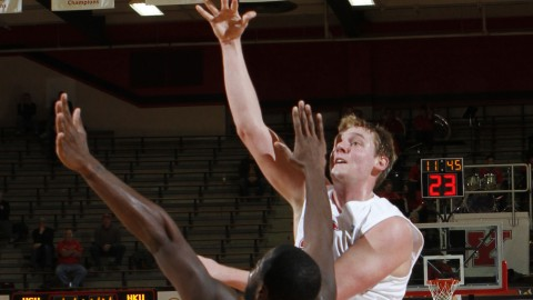 Bobby Hain attempts a hook shot over NKU forward Jalen Billups (21) during YSU's 78-74 victory at the Beeghly Center.