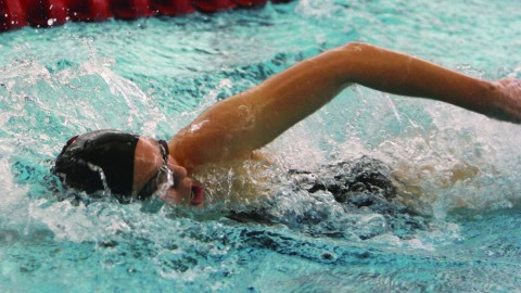 Freshman swimmer Viktoria Orosz could potentially win the Horizon League Championship in the 200-yard freestyle. Her best time was 1:50.01 at the Magnus Invitational back in November 2014. Photo courtesy of YSU Sports Information.