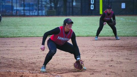 Youngstown State University first baseman Miranda Castiglione has the second-highest batting average on the softball team; .353. Castiglione's 29 stolen bases ranks third in YSU softball history. Photo by Dan Hiner/ The Jambar.