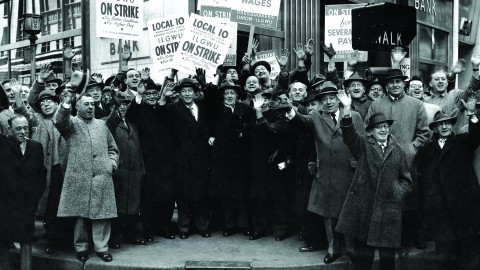 Lynd compared the plight of the adjunct faculty to workers' attempts to unionize in the early 1900s. Depicted are members of the Amalgamated Ladies Garment Cutters Union striking for better working conditions and higher pay in New York in the early 1900s. Photo courtesy of Kheel Center.