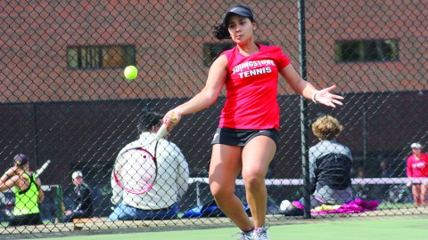 The Youngstown State University women's tennis team won its first regular season title after defeat Vaparariso University 6-1 on April 19. The Penguins have clinched the top seed in the Horizon League tournament. Photo courtesy of YSU Sports Information.