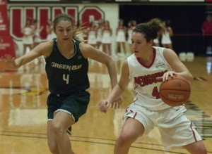 Youngstown State University guard Nikki Arbanas was one of three Penguins to score 13 points in Saturday's 68-60 loss to the University of Wisconsin-Green Bay.