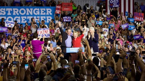 Democratic Party Presidential nominee Hillary Clinton and Vice Presidential nominee Tim Kaine greet supporters at East High School in Youngstown. (Photo by Justin Wier)