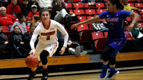 Youngstown State University guard Alison Smolinski drives around a defender on the way to the basket.
