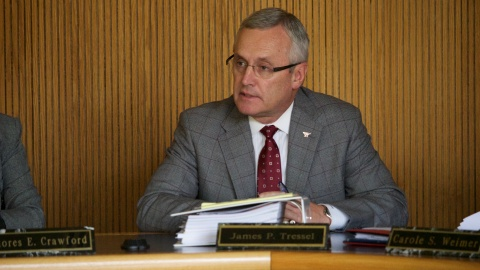 YSU President Jim Tressel speaks at a Board of Trustees meeting earlier this year. Photo by Justin Wier / The Jambar