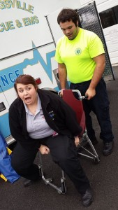 Cadets get some stair chair training. The county medic seems a little nervous :)